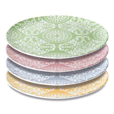 4 piece round plate decorated set