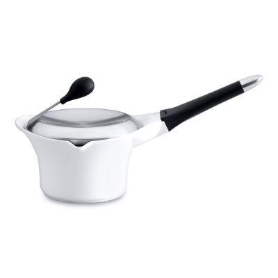 Cast covered saucepan white 16 cm